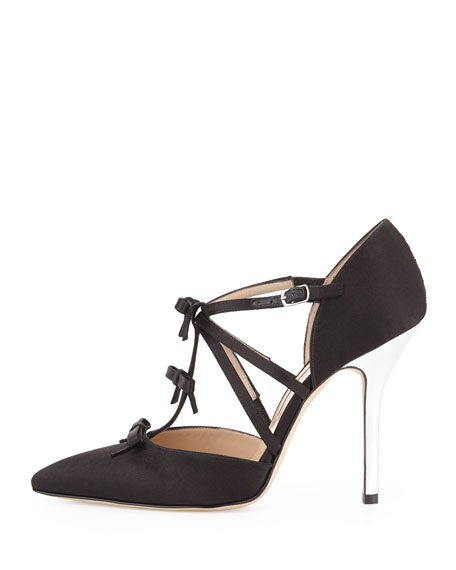 Alice Satin T-Strap Bow Pump, Black
