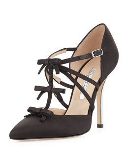 Oscar de la Renta Alice Satin T-Strap Bow Pump, Black