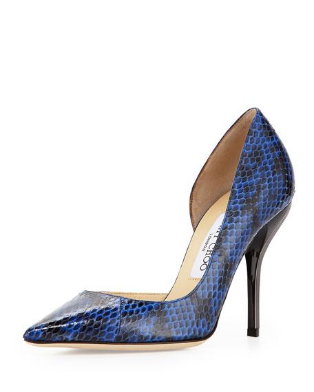 Willis Snake Half d'Orsay Pump, Blue