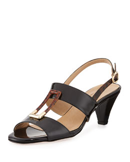 Sesto Meucci Gale Patent Ornament Sandal, Black