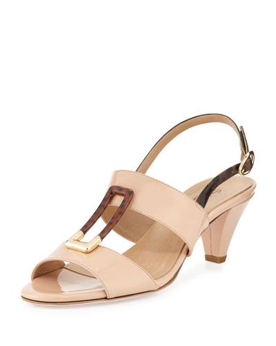 Sesto Meucci Gale Patent Ornament Sandal, Nude