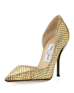 Jimmy Choo Willis Snake Half d'Orsay Pump, Gold