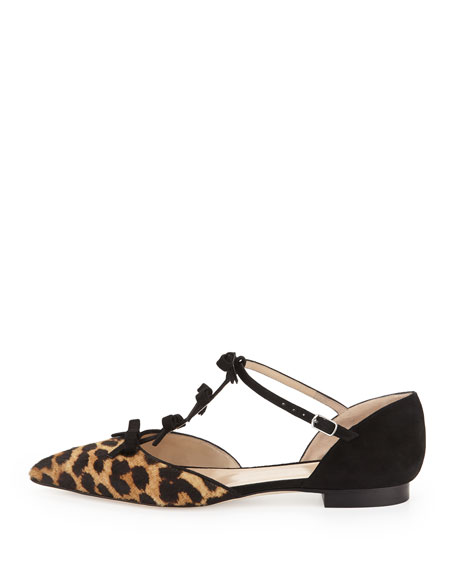 Evelyn Point-Toe Calf Hair Bow Flat, Leopard