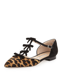 Oscar de la Renta Evelyn Point-Toe Calf Hair Bow Flat, Leopard