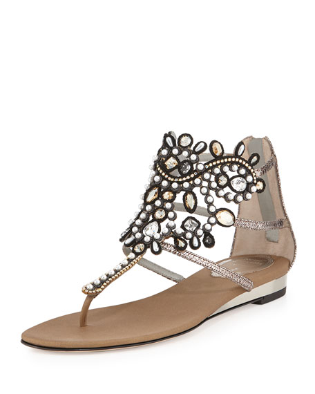 Rene Caovilla Crystal Caged Thong Sandal, Bronze