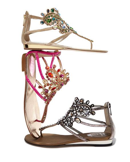Strass Crystal Embellished Lizard Sandal