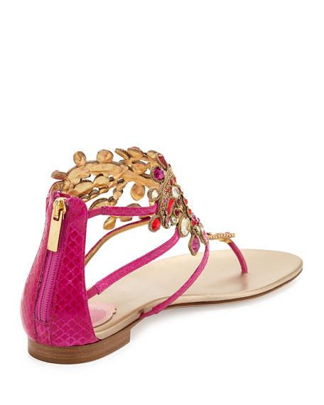 Crystal Embellished Flat Thong Sandal