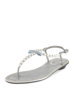 Rene Caovilla Pearly & Crystal Flat Thong Sandal, Silver