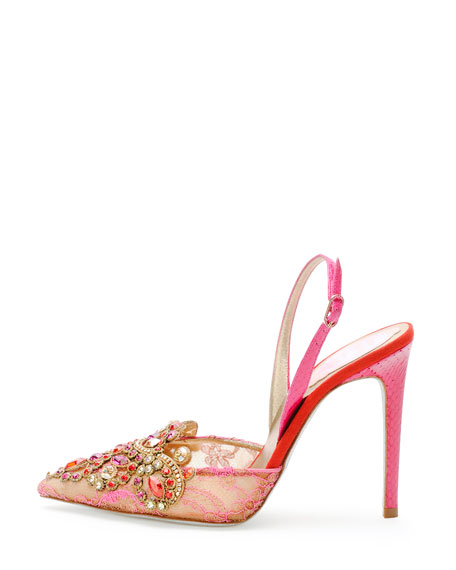 Jeweled Lace Halter Pump, Gold/Fuchsia/Red