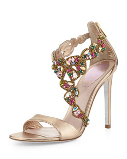 Rene Caovilla Crystal-Covered Asymmetric Sandal, Beige