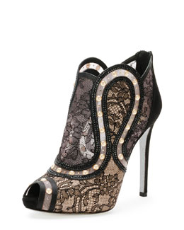 Rene Caovilla Peep-Toe Pearly Lace Bootie, Black/Gold