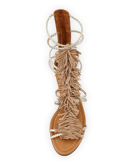Cuba Strappy Fringe Sandal, Desert