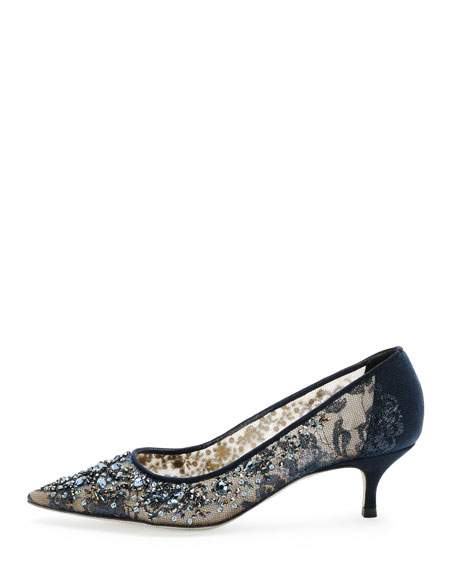 Beaded Lace Low-Heel Pump, Navy