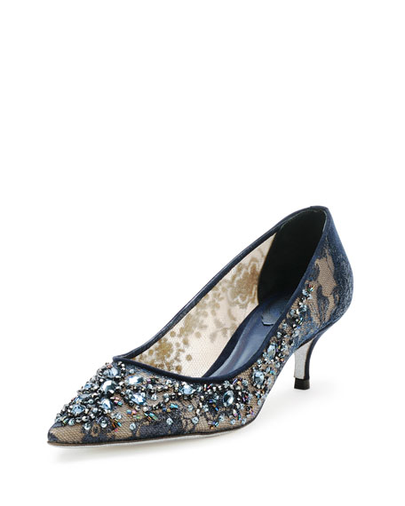 Rene Caovilla Beaded Lace Low-Heel Pump, Navy