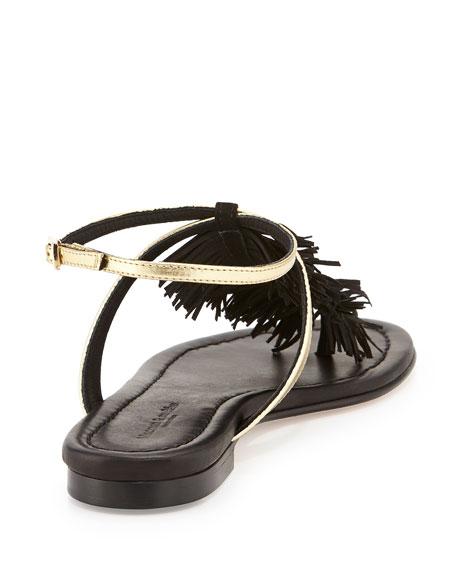 Maui Fringed Ankle-Strap Sandal, Black