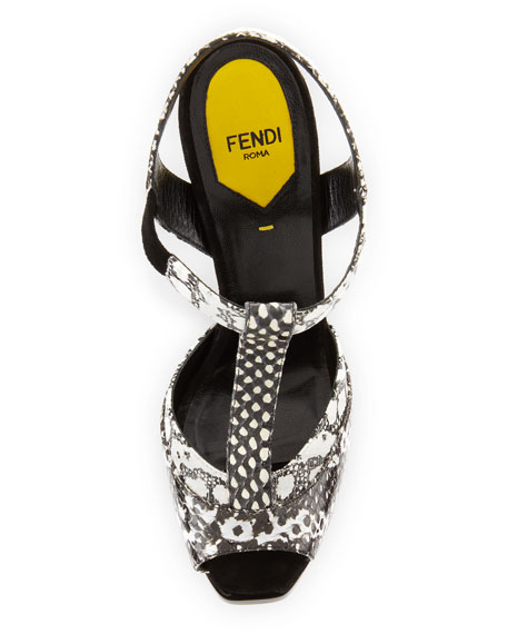 Snake-Print T-Strap Platform Sandal