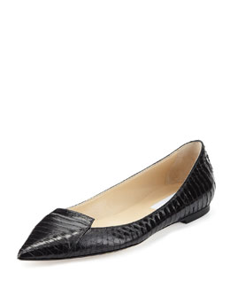 Jimmy Choo Attila Snakeskin Point-Toe Flat, Black