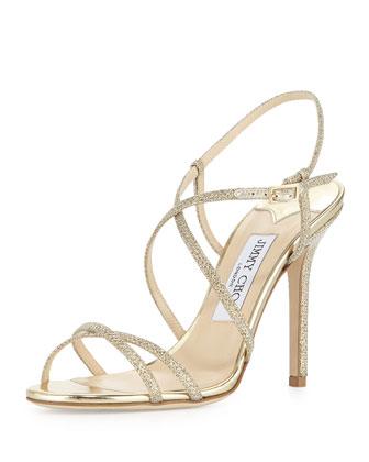 Sale alerts for Jimmy Choo Issey Glittery Crisscross Sandal - Covvet