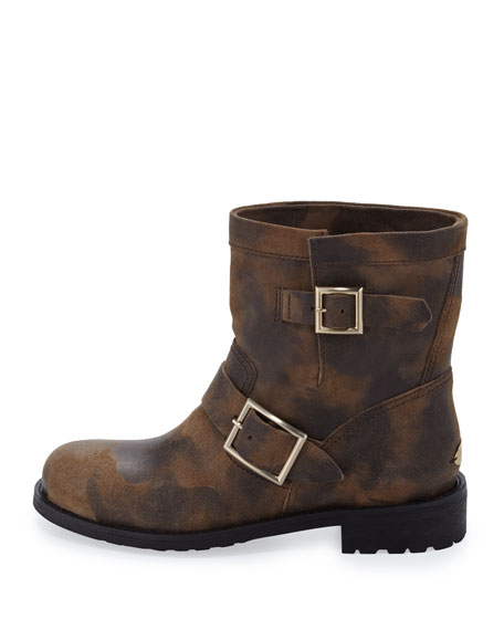 Youth Waxed Biker Boot, Sand