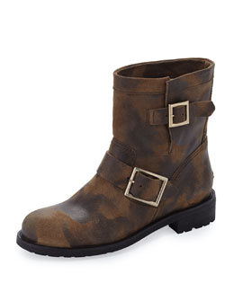 Jimmy Choo Youth Waxed Biker Boot, Sand