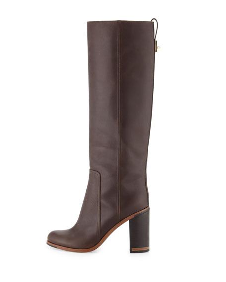 Leather Block-Heel Knee Boot