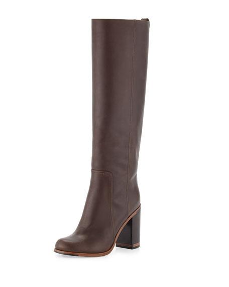 Fendi Leather Block-Heel Knee Boot