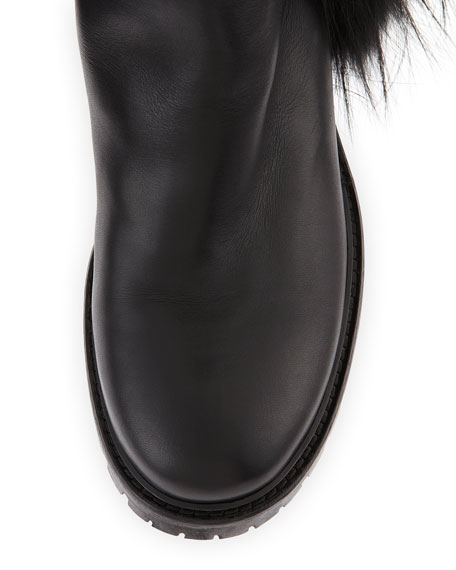 Tall Fur-Fringe Leather Boot, Black