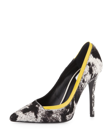 Fendi Animal-Print Calf Hair Pump