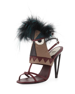 Fendi Leather Monster Bootie Sandal