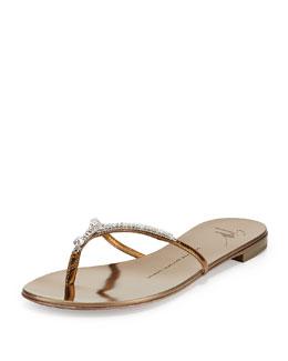 Giuseppe Zanotti Metallic Crystal Flat Thong Slide Sandal, Bronze