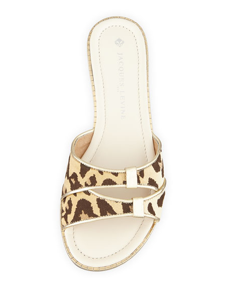 Evie Leopard-Print Satin Slide Sandal