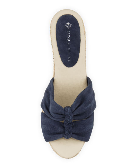 June Braided Espadrille Wedge, Navy