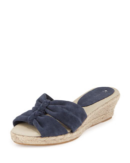 Jacques Levine June Braided Espadrille Wedge, Navy