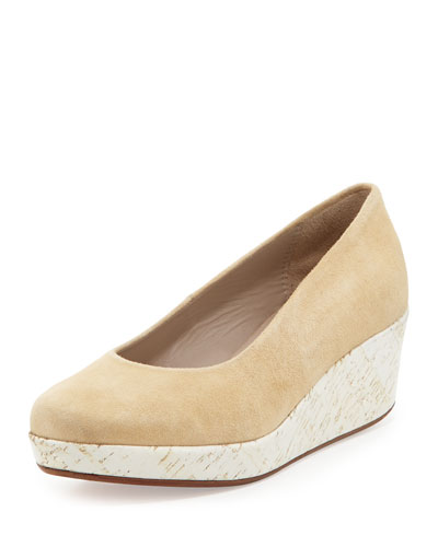 Jacques Levine Sari Painted-Cork Suede Wedge, Camel/White