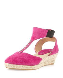 Jacques Levine Diana Suede T-Strap Wedge Sandal, Fuchsia