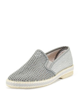 Jacques Levine Leucate Woven Slip-On Loafer, Gray