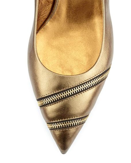 Low-Heel Metallic Zip Pump, Bronze