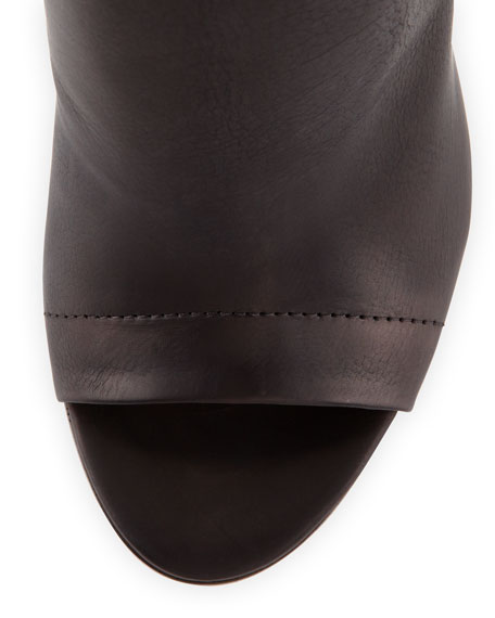 Addison Peep-Toe Leather Bootie, Black/Woodsmoke