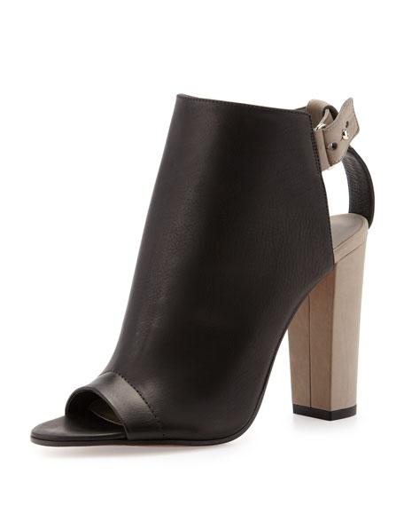 Addison Peep-Toe Leather Bootie, Black/Woodsmoke
