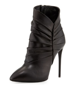 Giuseppe Zanotti Pleated Peak Leather Bootie, Nero