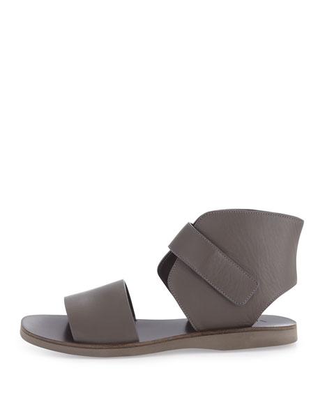 Sage Leather Ankle-Wrap Sandal, Mushroom