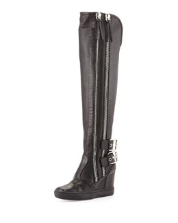 Giuseppe Zanotti Double Zip & Buckle Knee-High Boot, Black