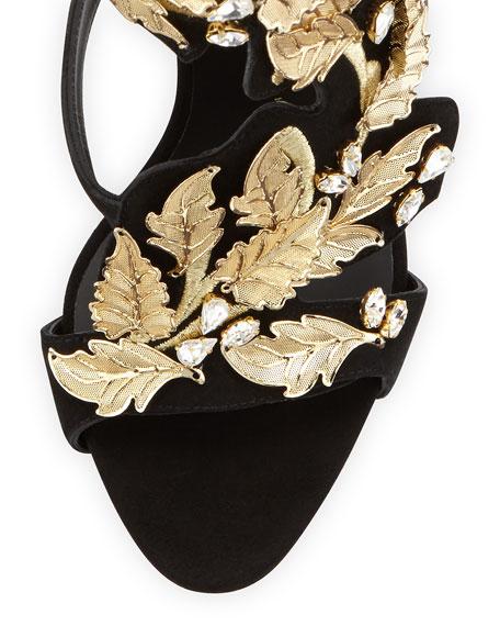 Suede & Crystal Leaf Sandal, Nero