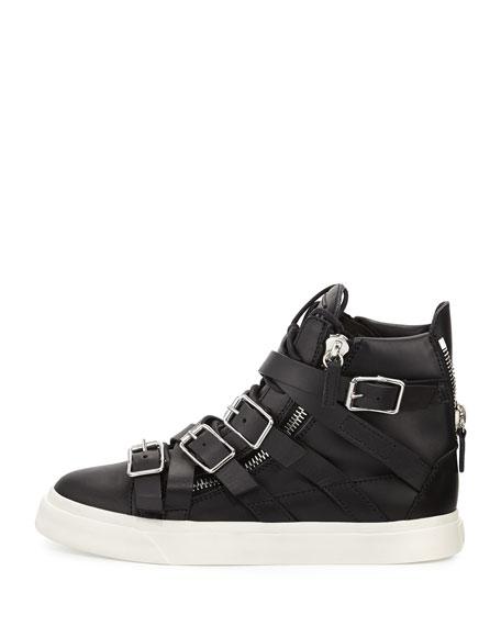 Multi-Buckle High-Top Sneaker, Nero