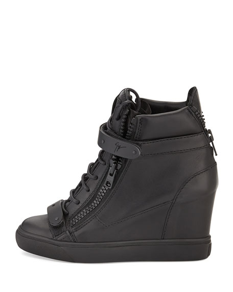 Leather Double-Strap Wedge Sneaker, Nero
