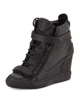 Giuseppe Zanotti Leather Double-Strap Wedge Sneaker, Nero