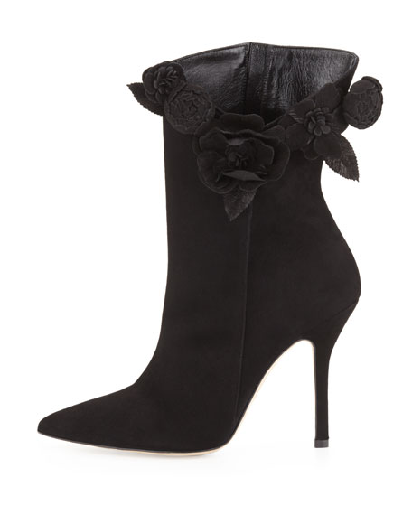 Carmen Suede Flower Ankle Boot, Black