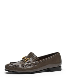 Gucci 60th Anniversary Fringe Loafer, Gray Field