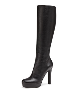 Gucci Leather Zip Knee Boot, Black