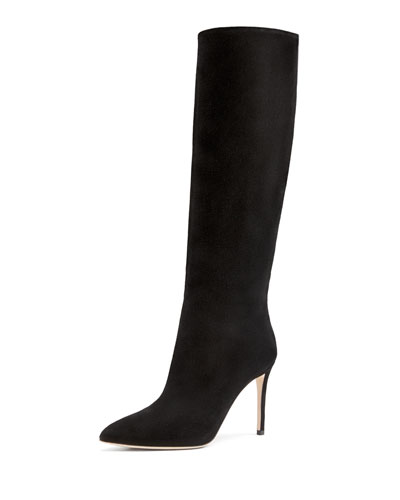Gucci Suede Point-Toe Knee Boot, Nero